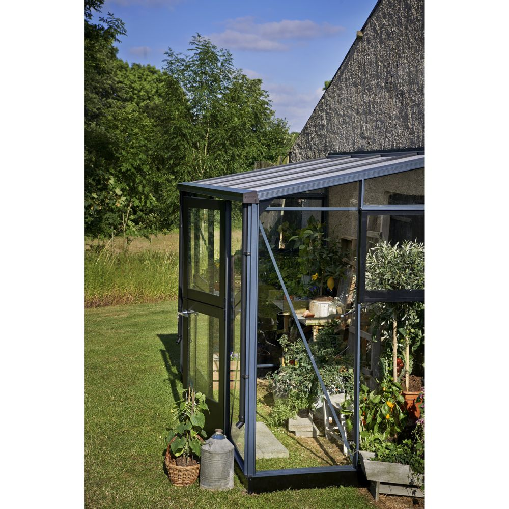 serre de jardin adoss e veranda 4 4 m anthracite. Black Bedroom Furniture Sets. Home Design Ideas