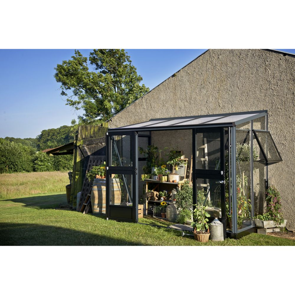 Serre de jardin adoss e veranda 4 4 m anthracite juliana plantes et jardins - Serre de jardin adossee au mur ...