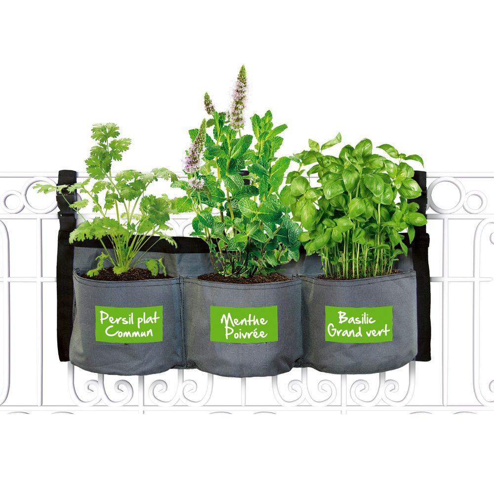 kit croq 39 aromates avec jardini re textile suspendre kitchen gardening plantes et jardins. Black Bedroom Furniture Sets. Home Design Ideas