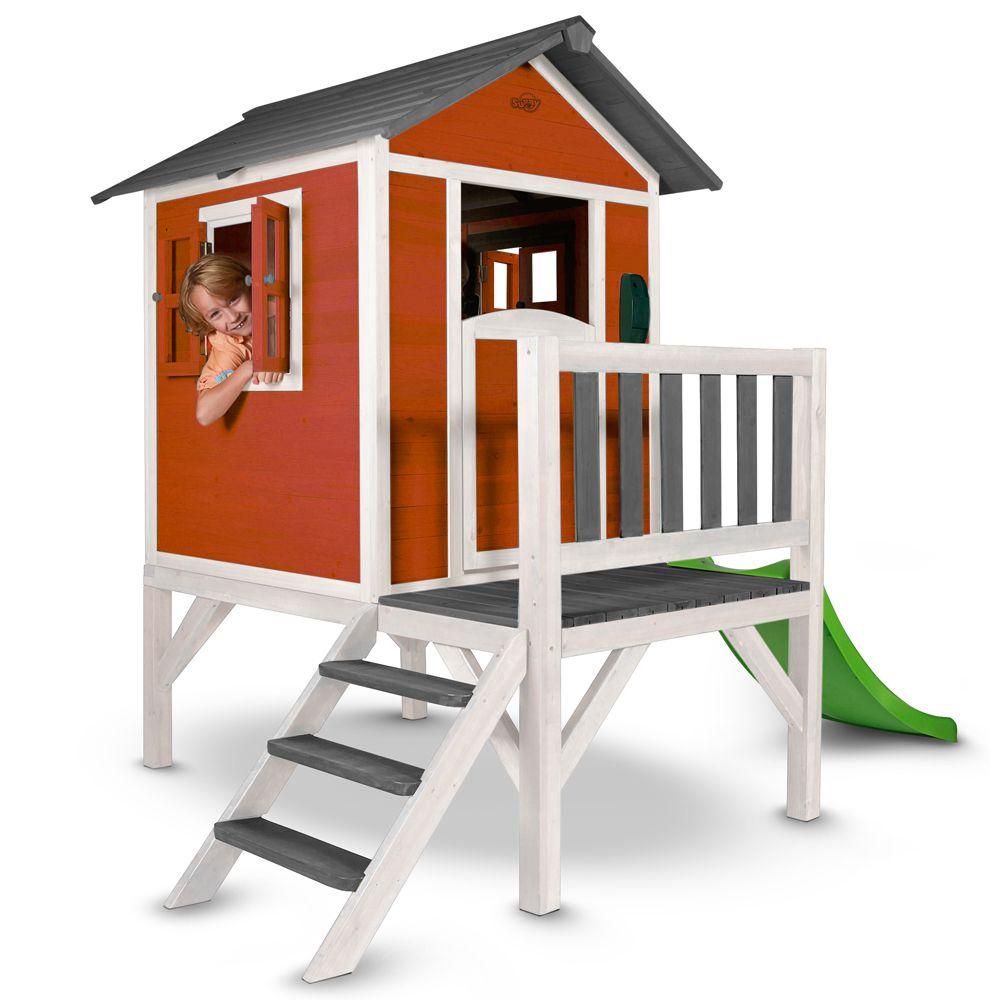 maisonnette enfant bois sur pilotis toboggan lodge rouge plantes et jardins. Black Bedroom Furniture Sets. Home Design Ideas