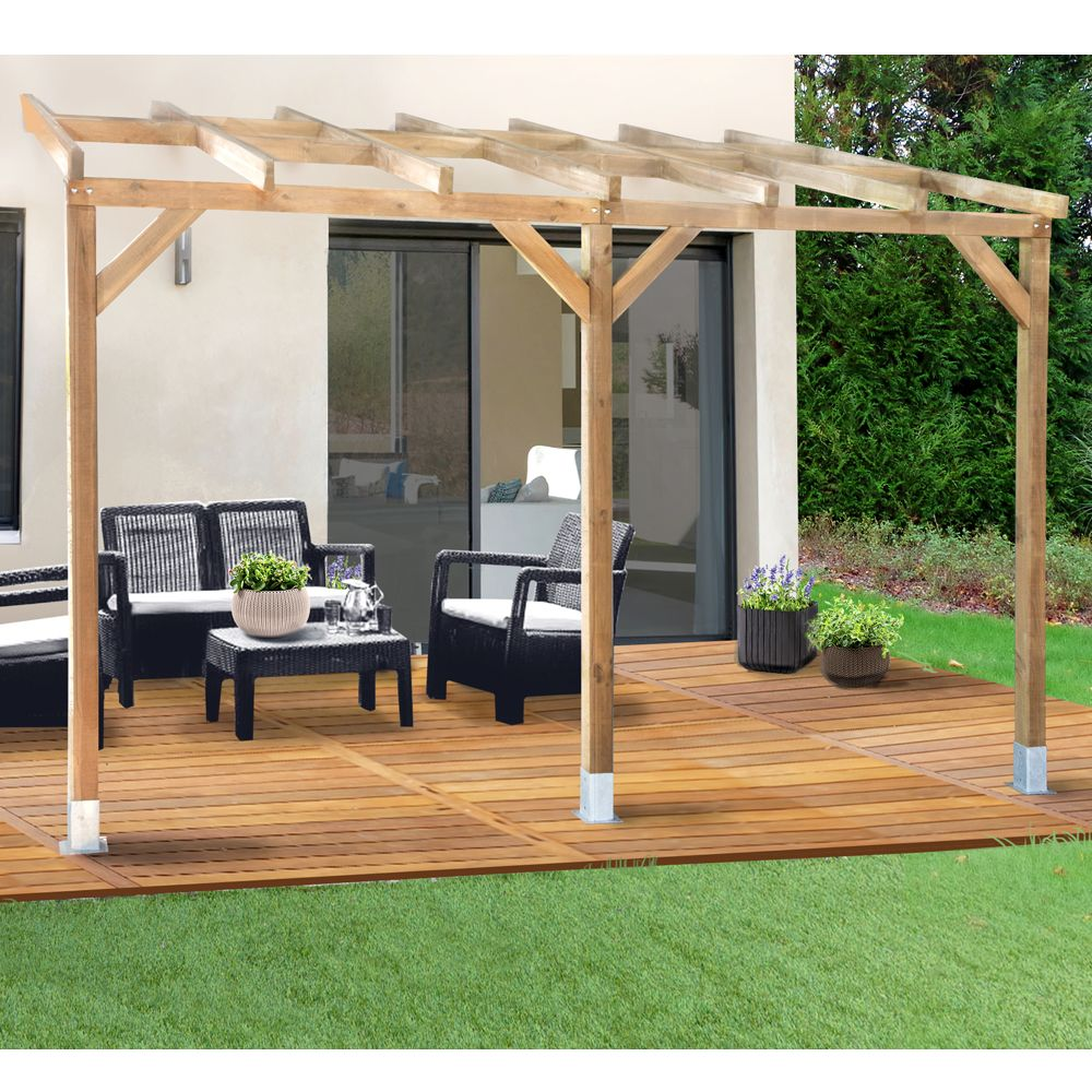 pergola adoss e bois trait 3x3 7 m plantes et jardins. Black Bedroom Furniture Sets. Home Design Ideas