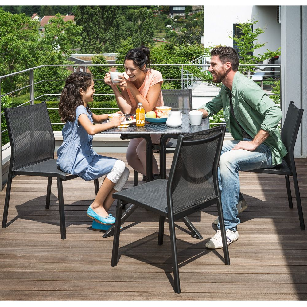 chaise empilable kettler lille aluminium textil ne anthracite plantes et jardins. Black Bedroom Furniture Sets. Home Design Ideas