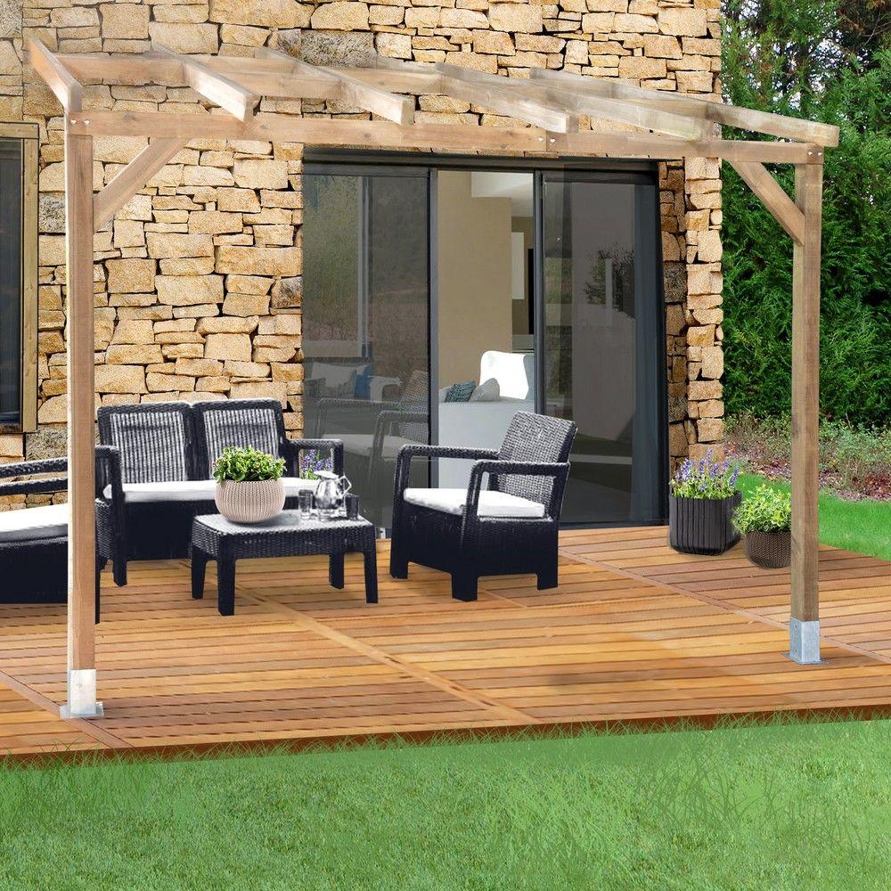 Pergola adoss e bois trait 3x3 m plantes et jardins - Bois de jardin traite ...