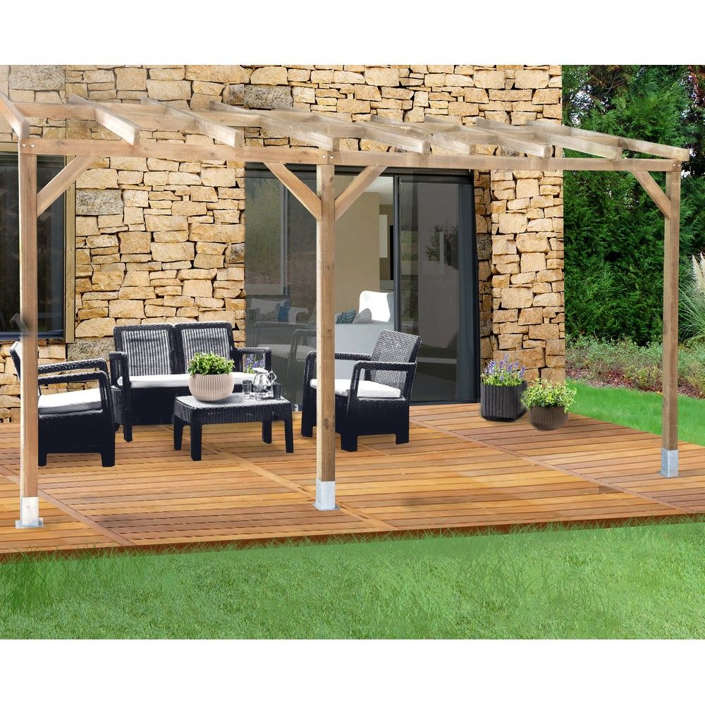 Pergola adoss e bois trait 3x4 9 m plantes et jardins - Pergola bois adossee ...
