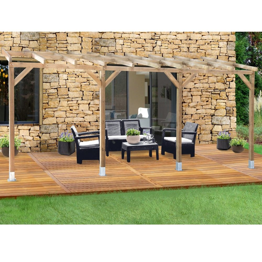 pergola adoss e bois trait 3x5 5 m plantes et jardins. Black Bedroom Furniture Sets. Home Design Ideas