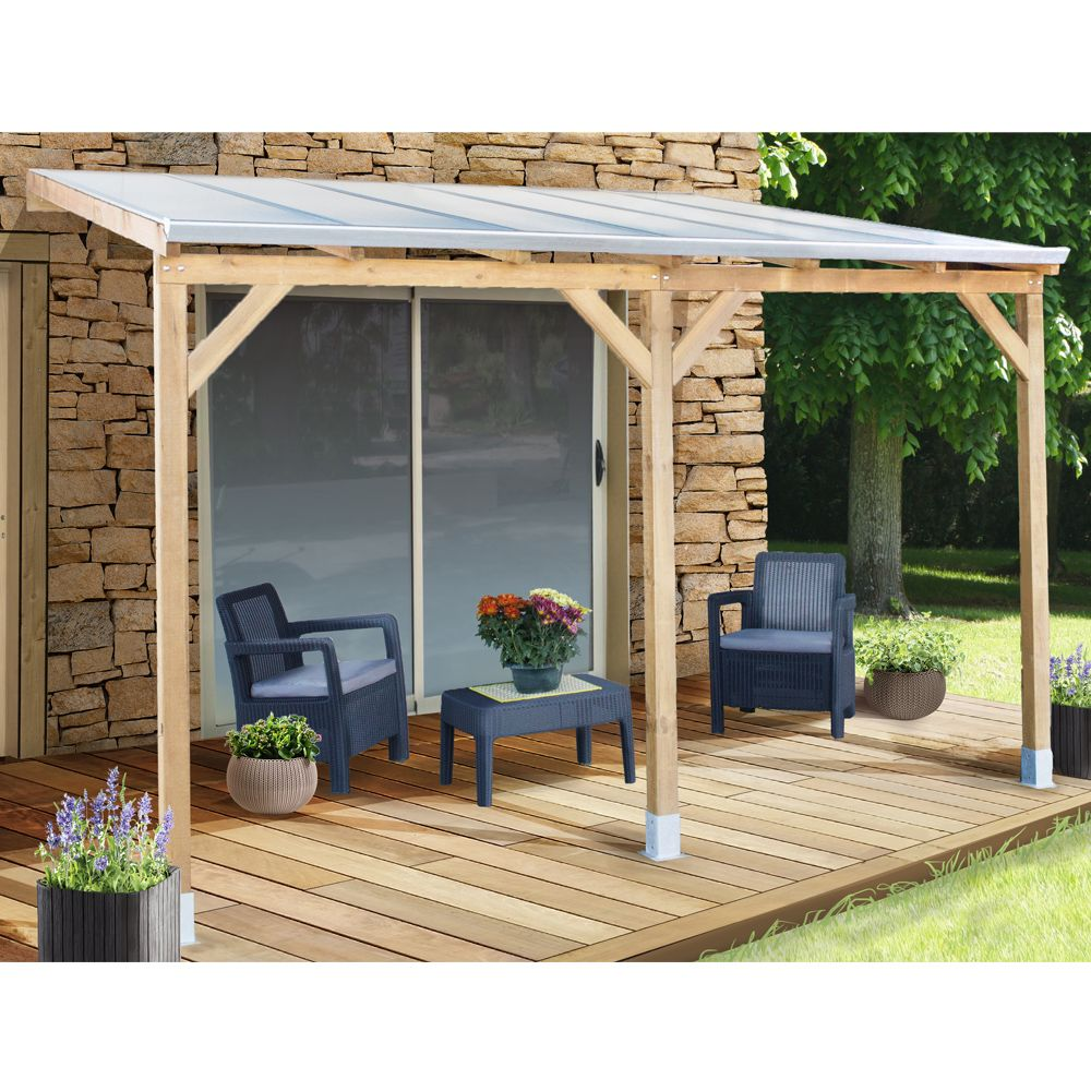 pergola adoss e bois trait toiture polycarbonate 3x3 7 m plantes et jardins. Black Bedroom Furniture Sets. Home Design Ideas