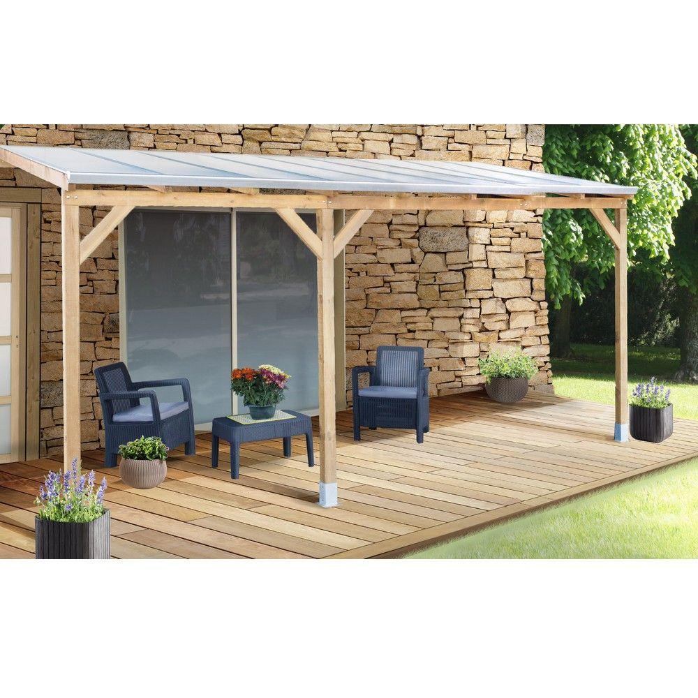 pergola adoss e bois trait toiture polycarbonate 3x4 9 m plantes et jardins. Black Bedroom Furniture Sets. Home Design Ideas