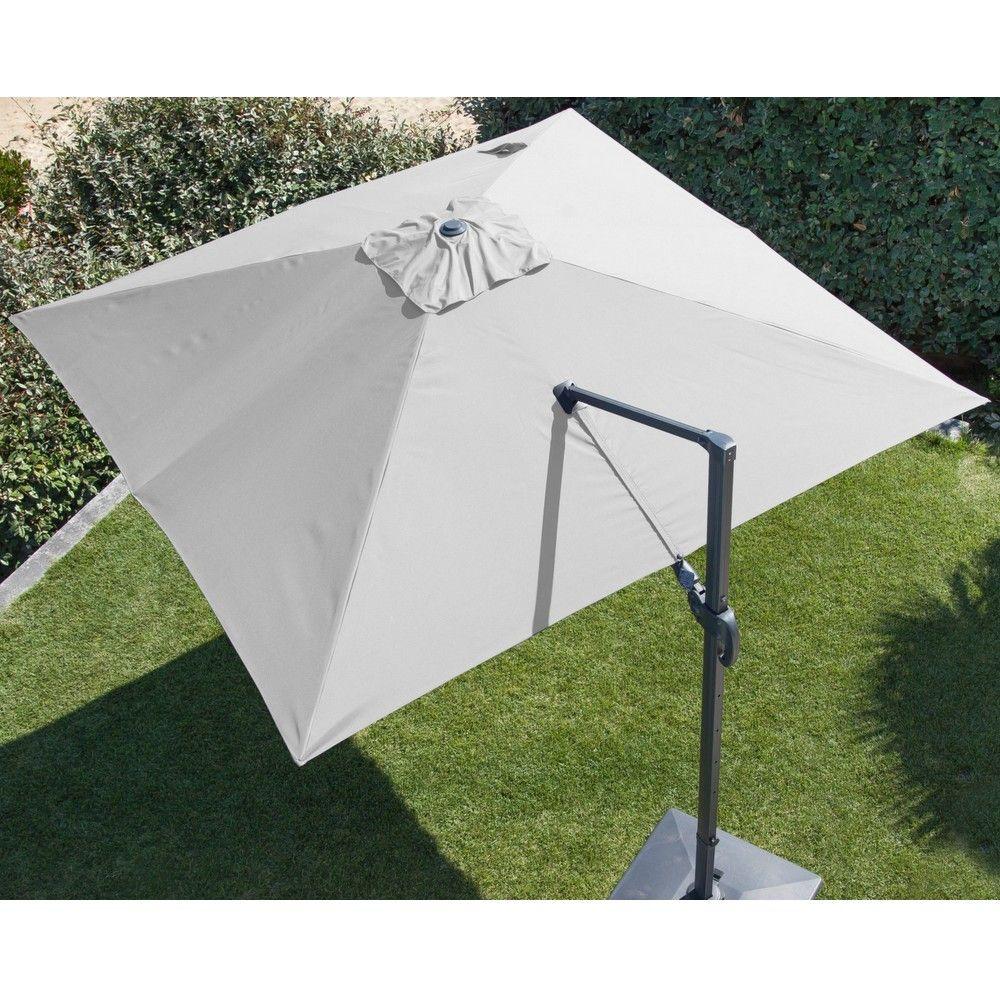 parasol d port orientable aluminium 3x3 m blanc plantes et jardins. Black Bedroom Furniture Sets. Home Design Ideas