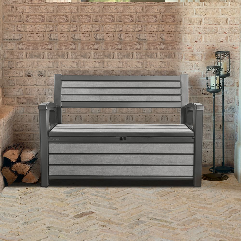 coffre banc de jardin en r sine brossium 227l gris plantes et jardins. Black Bedroom Furniture Sets. Home Design Ideas