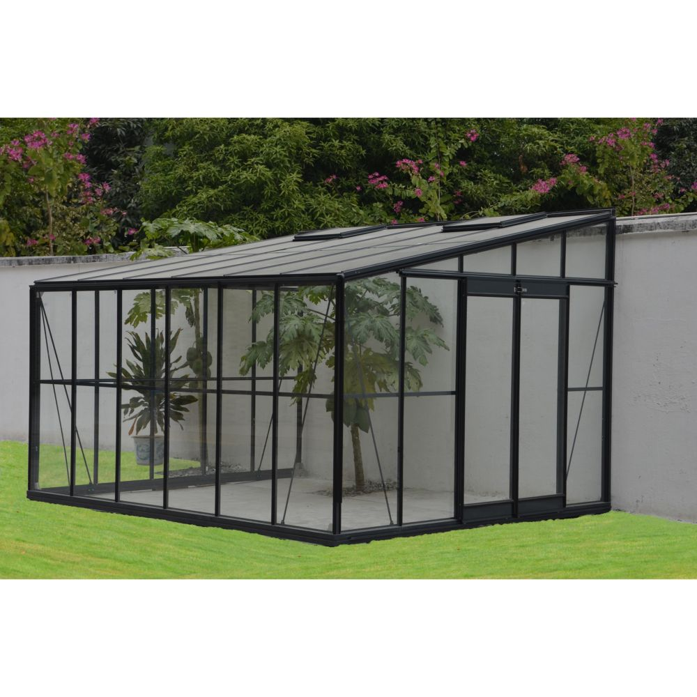 Serre adoss e en verre tremp solarium m grise for Jardin 85