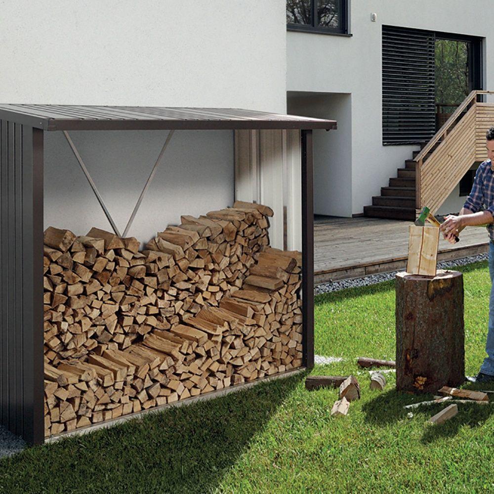 Abri b ches m tal biohort woodstock 2 7 st res gris fonc plantes et jardins - Range buche brico depot ...