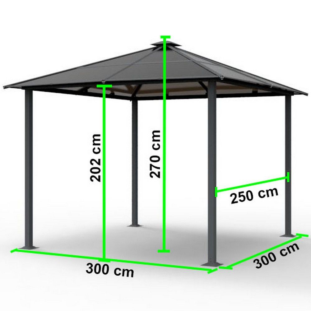 tonnelle autoportante aluminium 3x3 m anthracite plantes et jardins. Black Bedroom Furniture Sets. Home Design Ideas